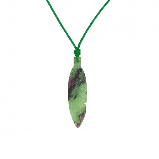 Collier Plume rubis zoisite