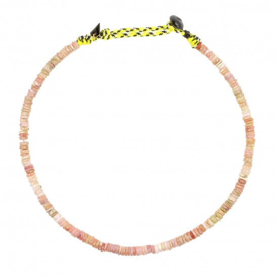 Collier Puka simple opale rose