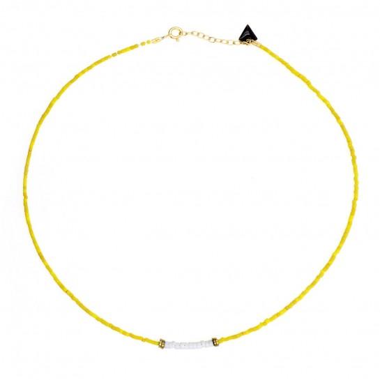 Collier Puka jaspe jaune