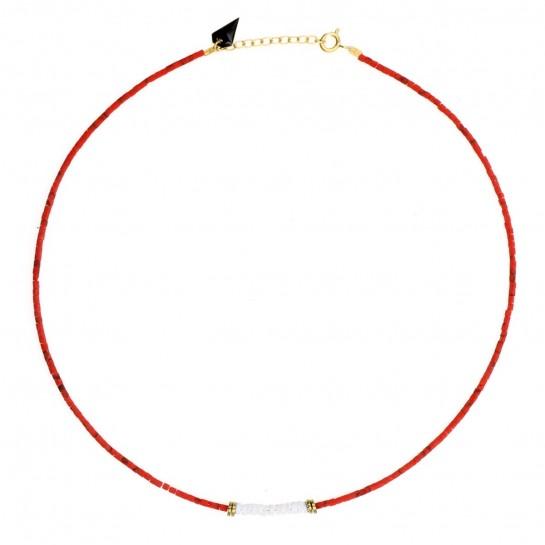 Collier Puka jaspe rouge