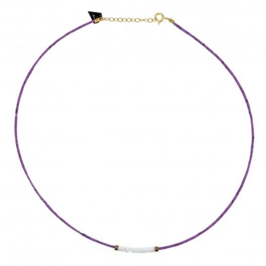 Collier Puka jaspe violet