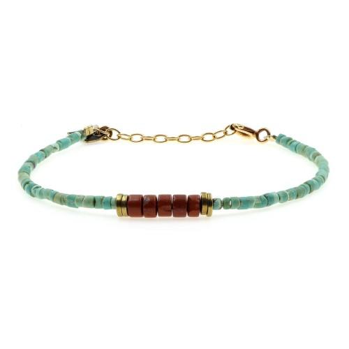 Bracelet Puka turquoise et...