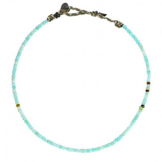 Collier Facettes opale bleue