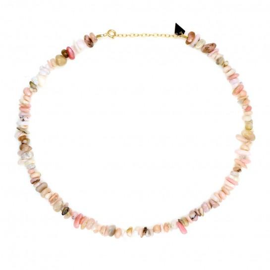 Collier Facettes opale rose