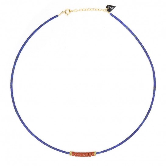 Collier Puka lapis-lazuli...