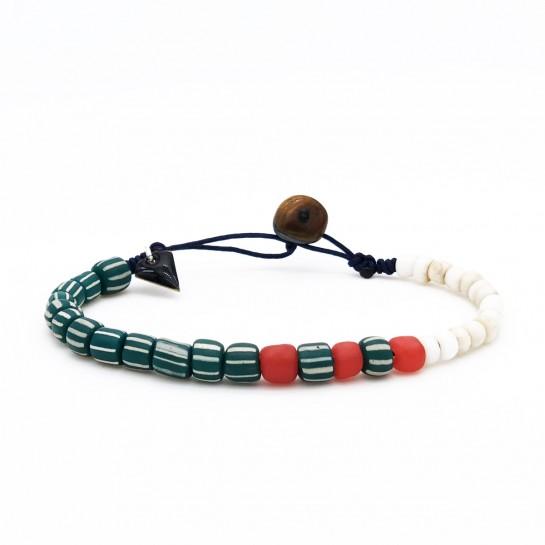 Bracelet Homme vert rayé et...