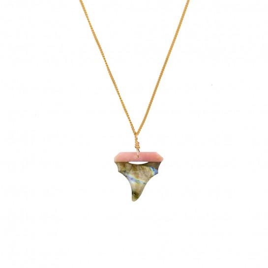 Collier sautoir Shark opale...