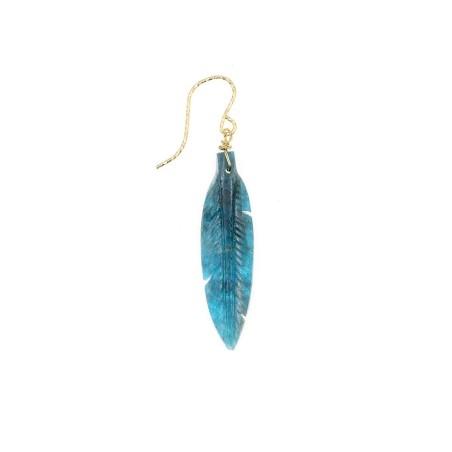 boucle d'oreille rocher roucas plume en apatite couleur  bleu foncé