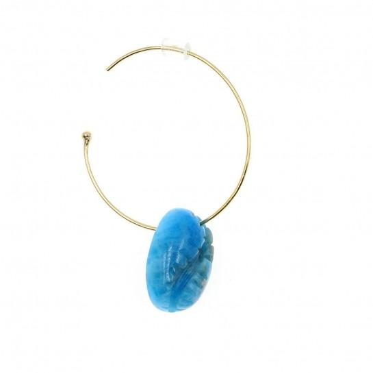 boucle d'oreille rocher roucas cauri en apatite couleur  bleu