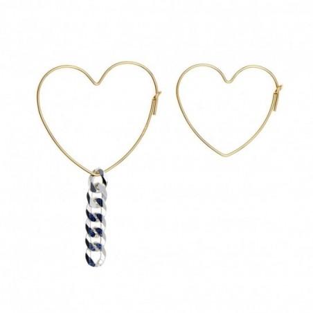 boucle d'oreille rocher roucas  en  couleur  or et argent