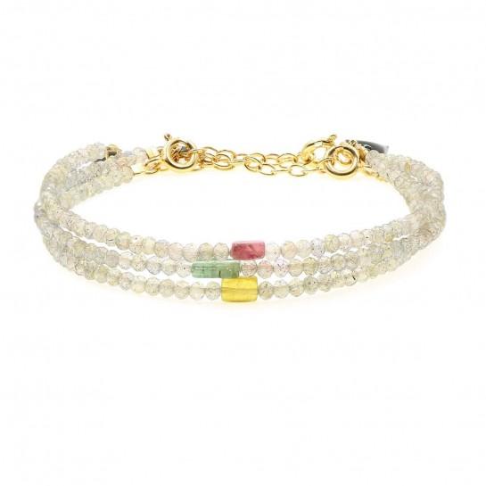 bracelet facette en labradorite et tourmaline couleur  gris