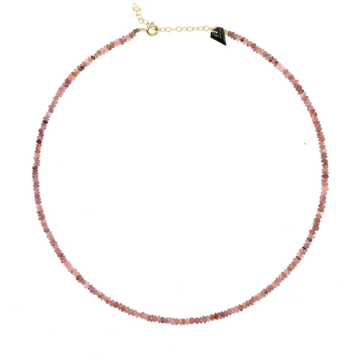 collier facettes en tourmaline couleur  rose