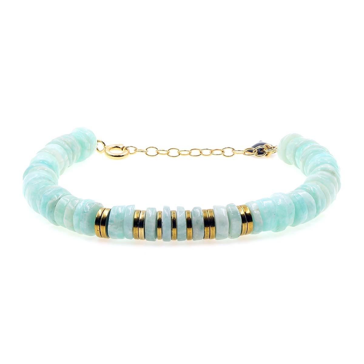 bracelet puka en amazonite couleur  vert