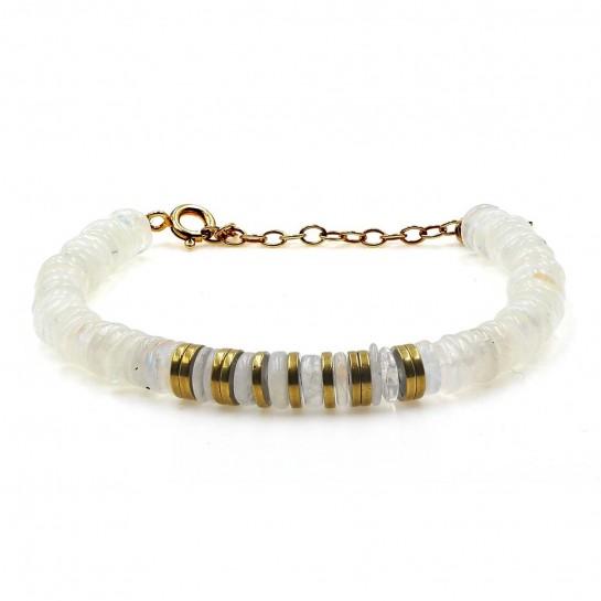 bracelet puka en pierre de lune couleur  blanc
