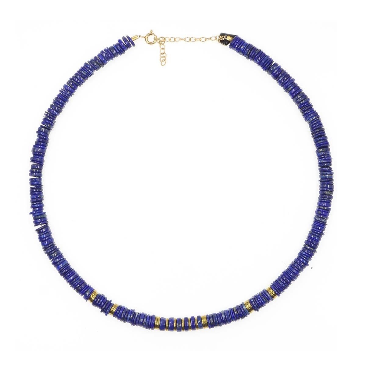 collier puka en lapis lazuli couleur  bleu