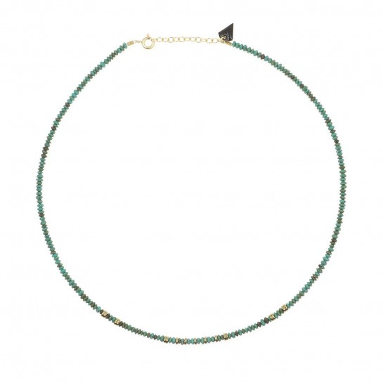 collier puka en turquoise couleur  bleu