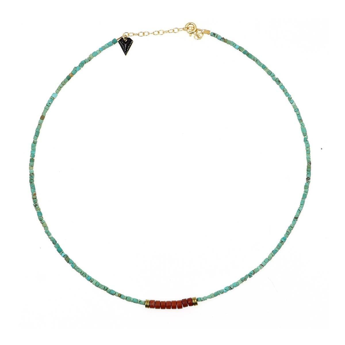 collier puka en turquoise et jaspe couleur  bleu et orange