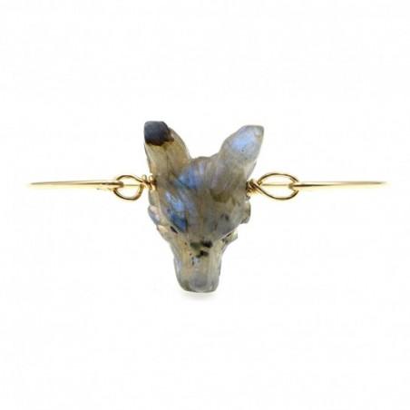 bracelet loup en labradorite couleur  gris