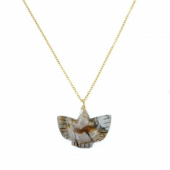 collier condor en jaspe couleur  beige