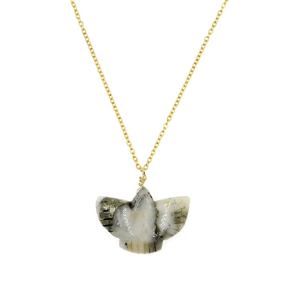 collier condor en calcedoine couleur  blanc