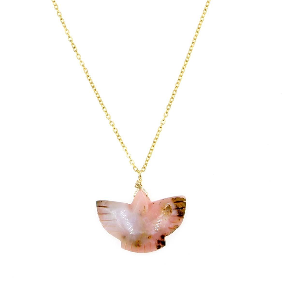 collier condor en opale couleur  rose