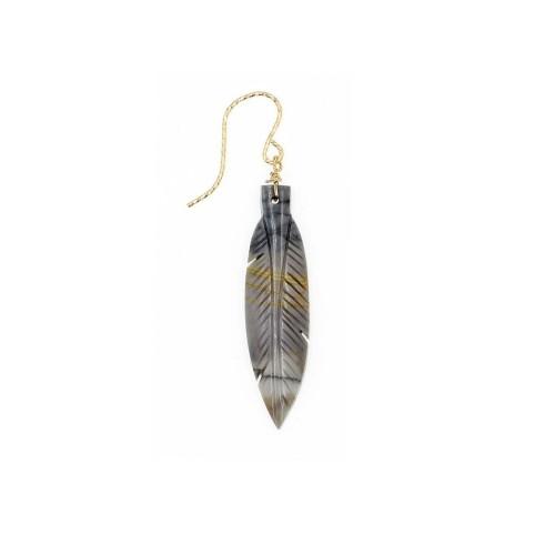 boucle d'oreille rocher roucas plume en jaspe couleur  beige
