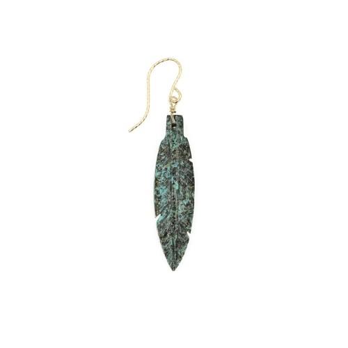 boucle d'oreille rocher roucas plume en turquoise africaine couleur  vert moucheté de noir