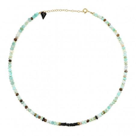 Collier Puka opale et onyx.  monprecieuxgem
