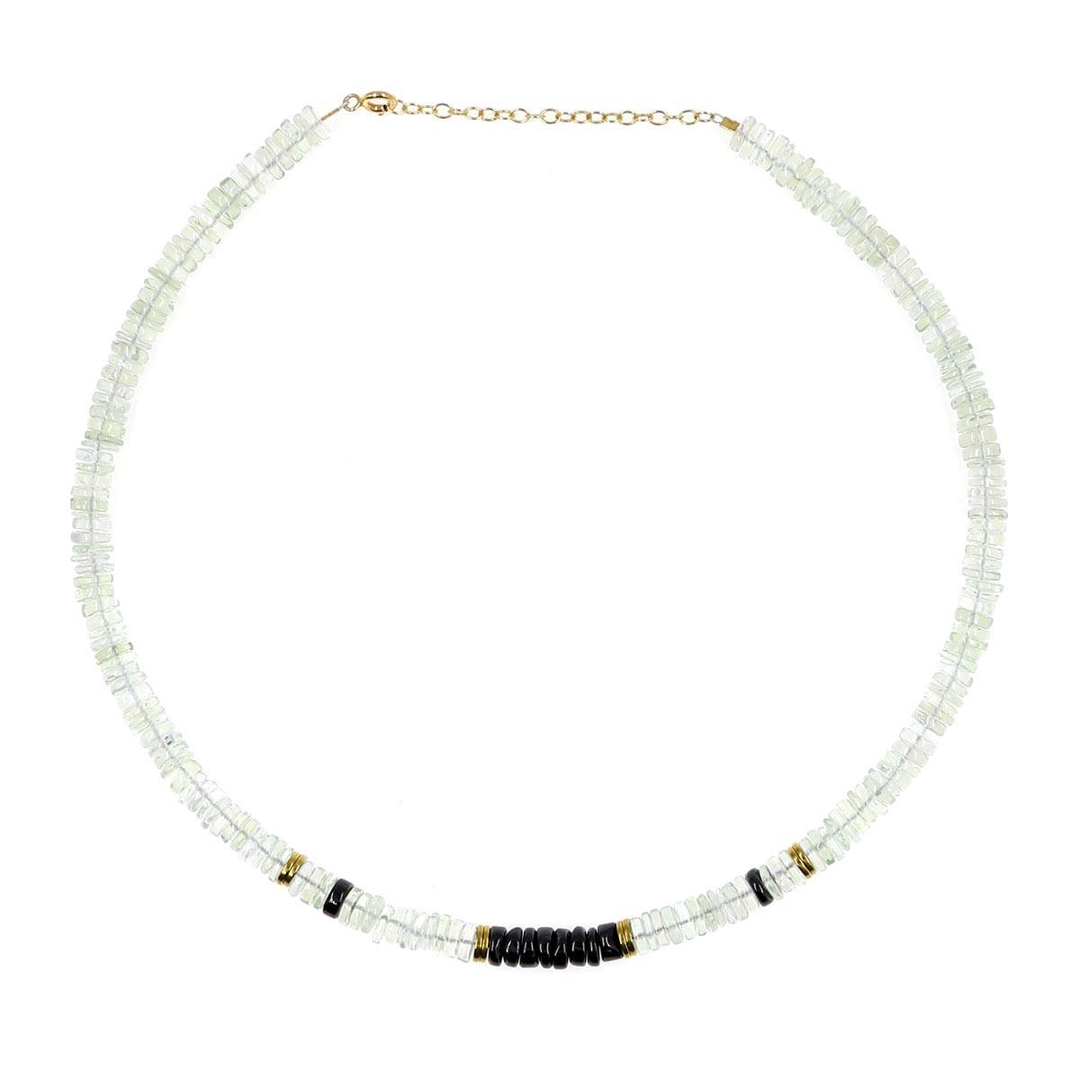 Collier mon precieux gem Puka en quartz et onyx